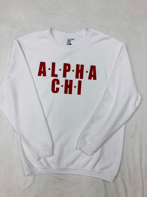 Alpha Chi Omega White Star Design Corded Crew Sweatshirt