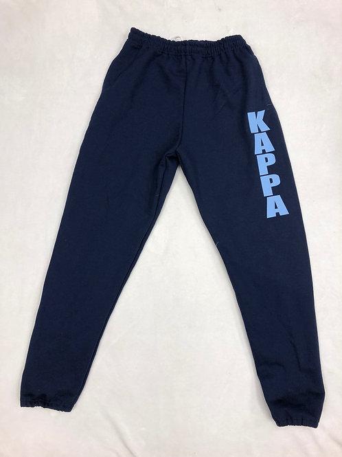 Kappa Kappa Gamma Navy Sweatpants with Blue Letters