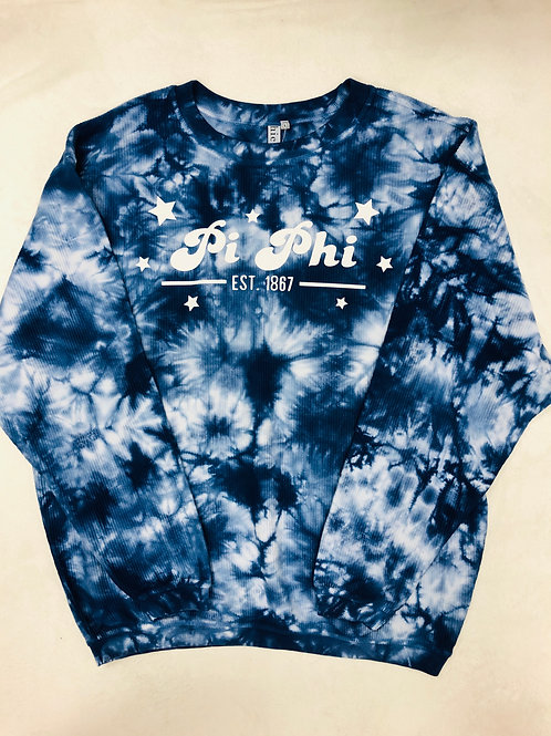 Pi Beta Phi Blue Tie-Dye Corded Crew