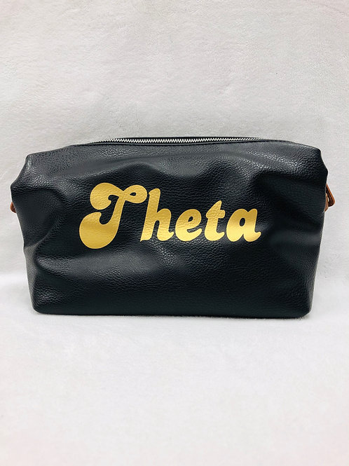 Kappa Alpha Theta Large Vegan Leather Makeup Bag - Black