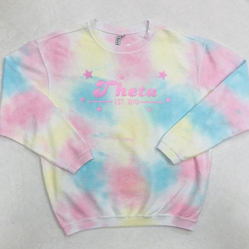 Kappa Alpha Theta Pastel Tie-Dye Corded Crew - Pink