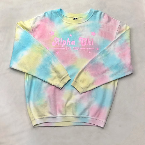 Alpha Chi Omega Pastel Tie-Dye Corded Crew - Pink