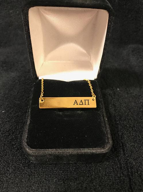 Alpha Delta Pi Gold Bar Necklace