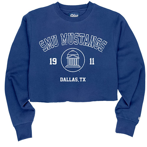 SMU Cropped Raw Edge Crew-neck Sweatshirt - Blue