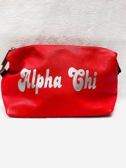 Alpha Chi Omega Large Vegan Leather Makeup Bag - Red