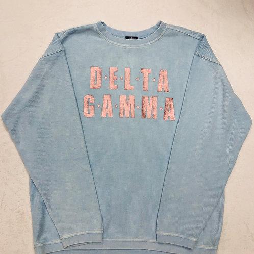 Delta Gamma Blue Star Design Corded Crew Sweatshirt