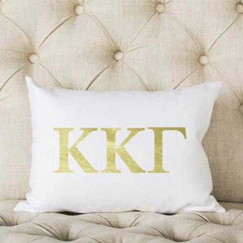 Kappa Kappa Gamma White and Gold Pillow