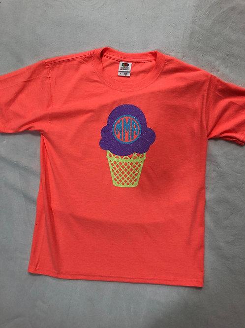 Ice Cream Cone Monogrammed Shirt