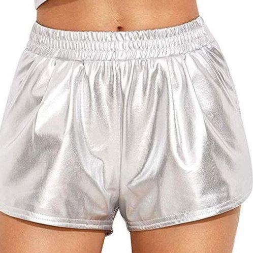 Adult Silver Metallic Summer Shorts