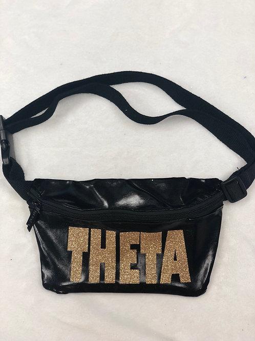 Kappa Alpha Theta Black Metallic Fanny Pack