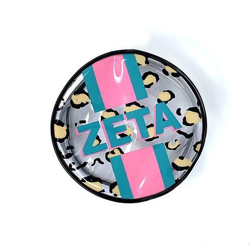 Zeta Tau Alpha Cheetah Round Makeup Bag