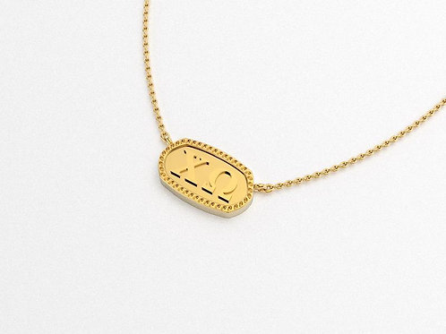 Chi Omega Gold Necklace