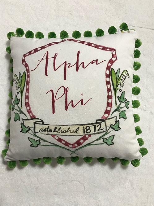 Alpha Phi Pom Pom Pillow