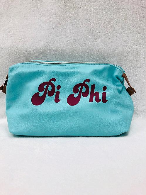Pi Beta Phi Large Vegan Leather Makeup Bag