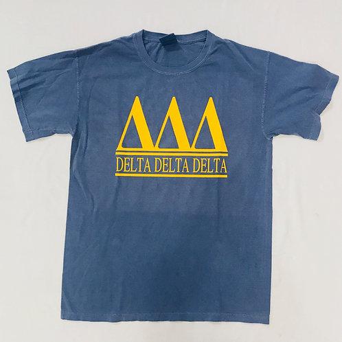 Delta Delta Delta Blue with Gold Comfort Colors Short Sleeve Tee