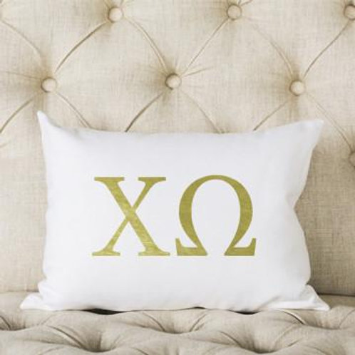 Chi Omega White and Gold Pillow