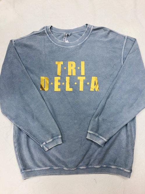 Delta Delta Delta Blue with Gold Foil Star Design Corded Crew Sweatshirt