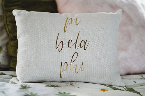 Pi Beta Phi White Script Pillow