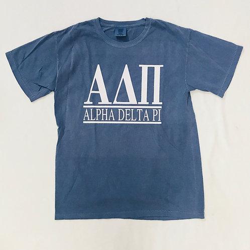 Alpha Delta Pi Dark Blue Comfort Colors Short Sleeve Tee