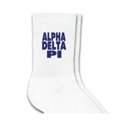 Alpha Delta Pi Sorority Crew Socks