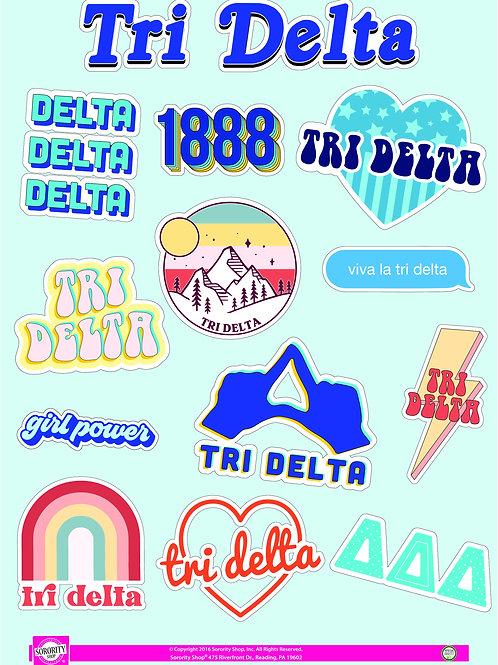 Delta Delta Delta Girl Power Power Sticker Sheet