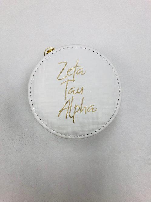 Zeta Tau Alpha White Jewelry Case