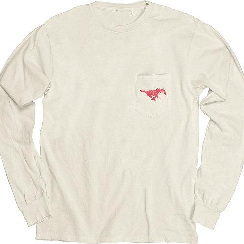 SMU Vintage Long -Sleeve Pocket T-shirt with Back Design - Ivory