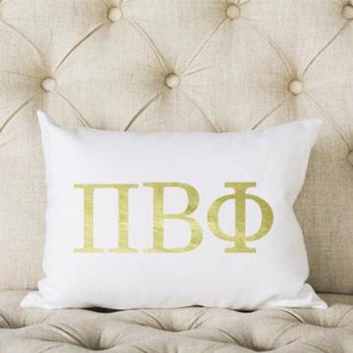 Pi Beta Phi White and Gold Pillow