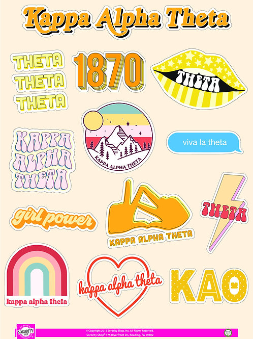 Kappa Alpha Theta Girl Power Power Sticker Sheet