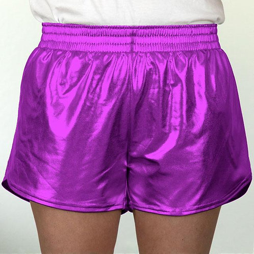 Youth Purple Metallic Summer Shorts