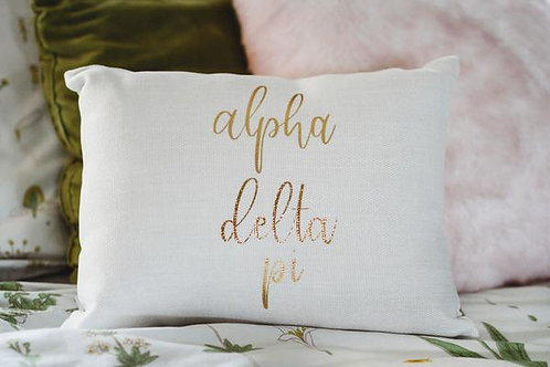 Alpha Delta Pi White Script Pillow