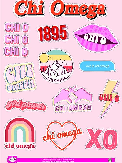 Chi Omega Girl Power Sticker Sheet