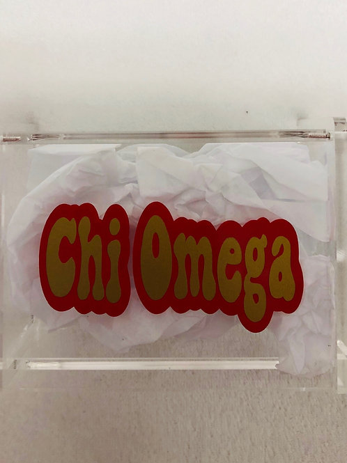 Chi Omega Retro Acrylic Box