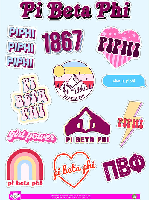 Pi Beta Phi Girl Power Power Sticker Sheet