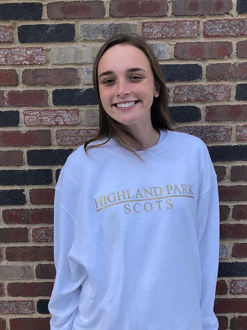 Highland Park White Corded Crew Sweatshirts