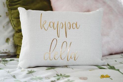 Kappa Delta White Script Pillow