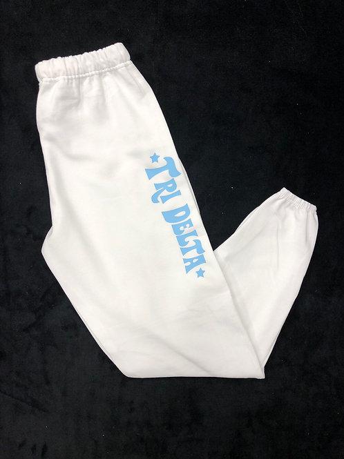 Delta Delta Delta White Sweatpants with Blue