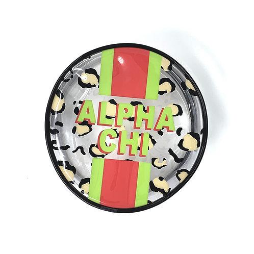 Alpha Chi Omega Round Makeup Bag - Leopard Print