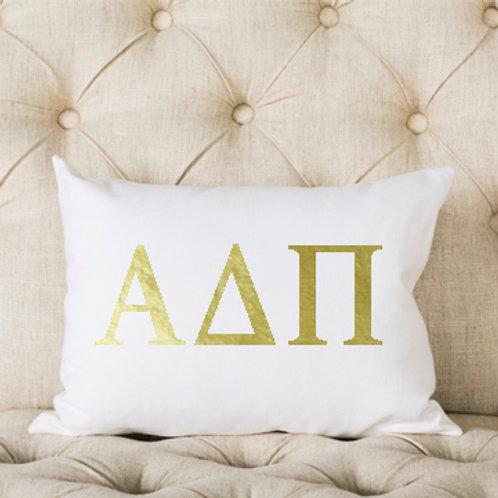 Alpha Delta Pi White and Gold Pillows