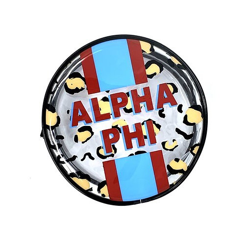 Alpha Phi Cheetah Round Makeup Bag