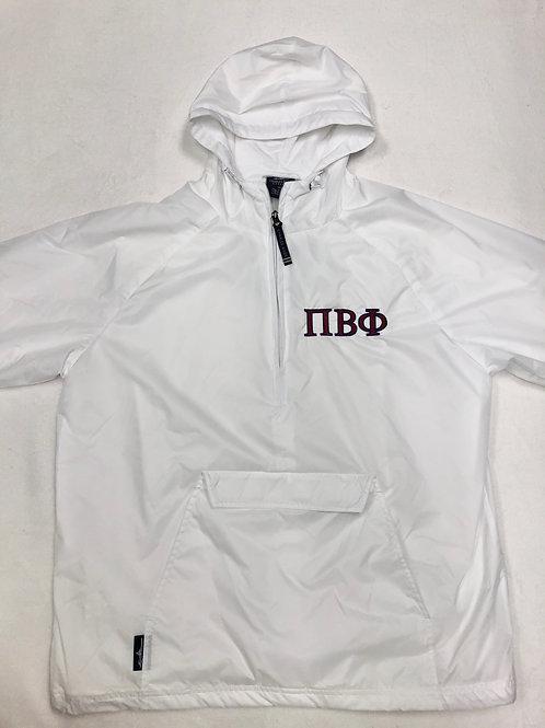 Pi Beta Phi White 1/4 Zip Rain Jacket