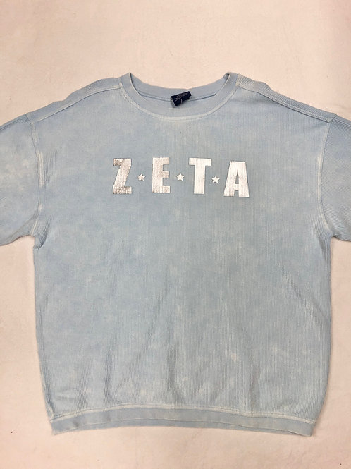Zeta Tau Alpha Blue Star Design Corded Crew Sweatshirt