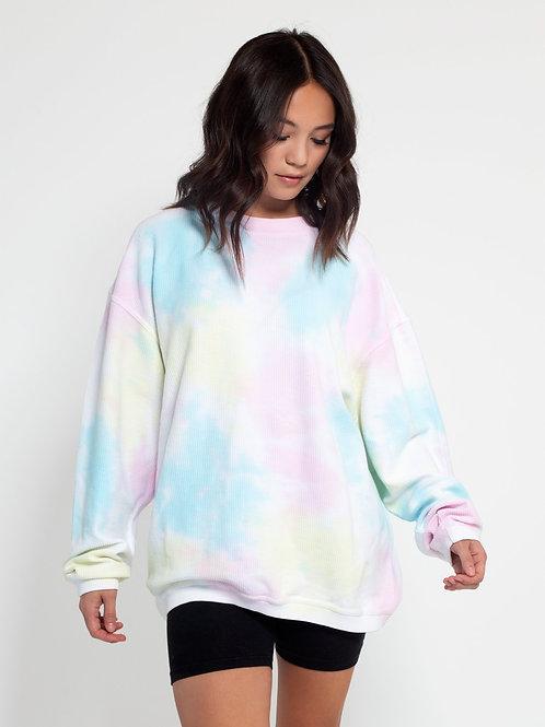 Pastel Tie Dye Corded Crew Sweatshirts