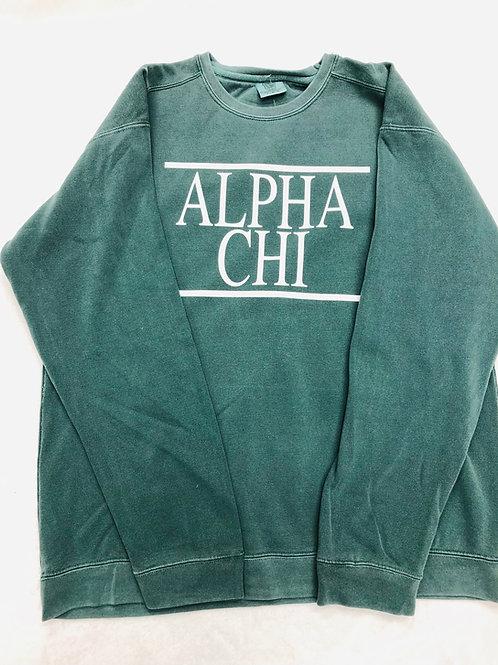Alpha Chi Omega Blue Spruce Comfort Colors Sweatshirt