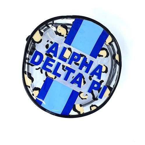 Alpha Delta Pi Cheetah Round Makeup Bag