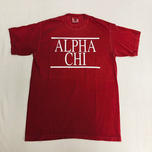 Alpha Chi Omega Crimson Comfort Colors Short Sleeve Tee