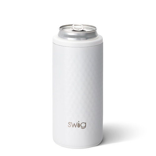 White Golf Textured Swig 12 oz Skinny Can Cooler