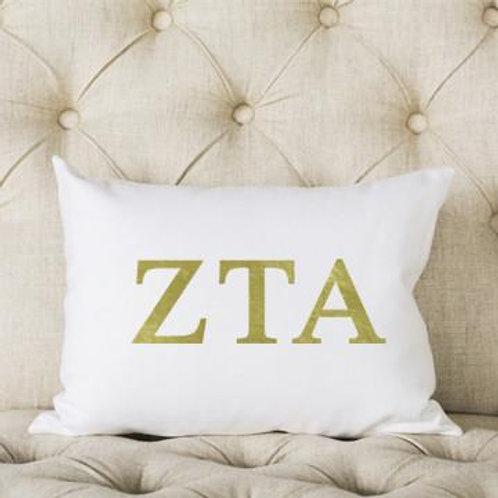 Zeta Tau Alpha White and Gold Pillows