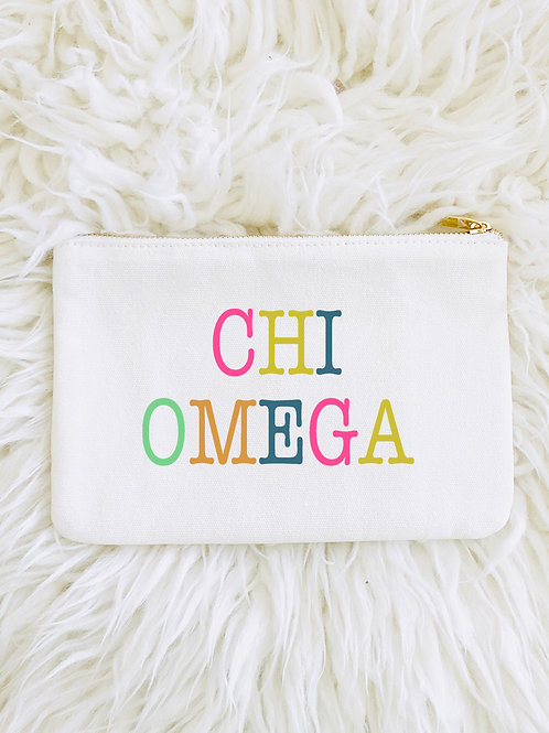 Chi Omega Color Block Makeup Bags