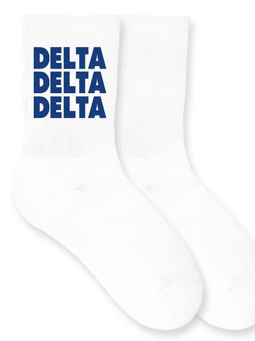 Delta Delta Delta Sorority Crew Socks